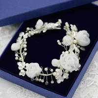 Korean silk flower bridal jewelry pearl wedding tiara wedding hair accessories handmade minimalist studio accessories