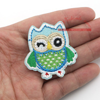 10pcs/lot Green EMBROIDERED Owl IRON ON PATCHES,Cartoon Animal patch