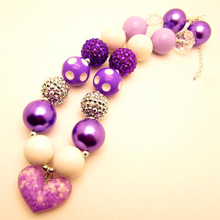 2015 New Girls Purple Heart Love Chunky Bubblegum Bead Pendant Necklace Children Kids Baby Toddler Necklaces Pendants Jewelry(China (Mainland))