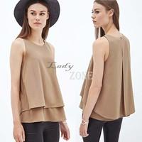 2015 Free Shipping Spring Summer Casual Shirts Sleeveless Sexy Ruffles Hem Chiffon Women Blouses Vest Tops B11 CB036740