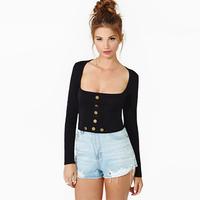 2015 Women Fashion Sexy T-shirt Square Collar Long Sleeve Sheath Front Button Design Short Style D202
