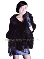 CX-B-M-58G Hot Selling European Fashion Genuine Mink Fur Knitted Shawl