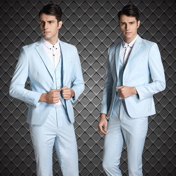 ( куртка + брюки + жилет ) два пуговица однобортная мужчины костюм приталенный fit бизнес вечерние костюмы j1016