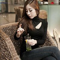 Fashion Women's Long Sleeve T-Shirts Sexy High collar Ladies Tops Casual Feminine C002