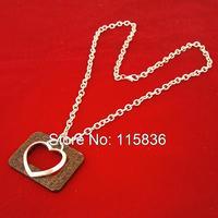 2015 fashion hollow metal heart pendant necklace vintage silver long chain brown color square wood necklaces pendants for women
