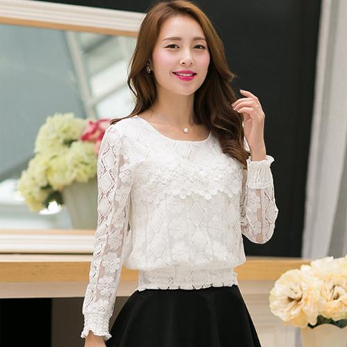 2015 Autumn Lace shirts Short Design New fashion Women lace Blouses Loose Long sleeve Hollow Crochet Floral Lace Tops Women()