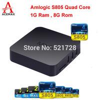 10pcs/lot Original ACEMAX MXQ Amlogic S805 Quad Core KODI TV Box Android 4.4 Kitkat H.265 Wifi Airplay HDMI 1G RAM 8G ROM
