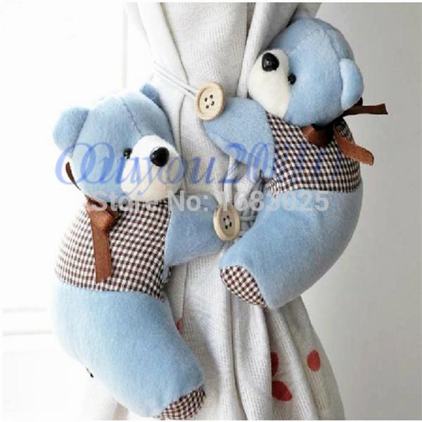1 Pair Lovely Baby Bedroom Plush Bear Curtain Tieback Holder Hook Buckle Cartoon Home Office Decors(China (Mainland))