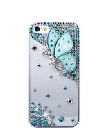 Luxury Crystal Rhinestone Diamond Bling Butterfly girl back Cover DIY handmade Fancy Colorful phone case for iphone 6 PT2225