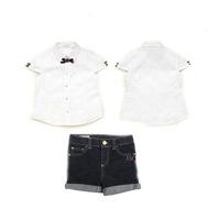 2015new children's Brand summer clothing sets baby boys girls 2pcs suit shirt+denim shorts clothes set  kids casual Clothing