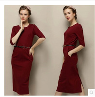 2015 Womens Colorblock Tunic Business Casual Wear Work Office Party Sheath Bodycon Pencil Slim Long-sleeved  Plus Size Dress