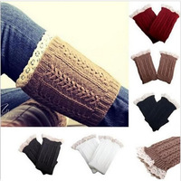 2015 New Women's Fashion Crochet Knitted Lace Trim Boot Cuffs Toppers Leg Warmers Socks