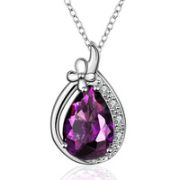 Hot Sale Shiny Rhinestone 18K White Gold Water Drop Design Pendant Necklace New Fashion Purple Crystal Necklace For Women FVN013