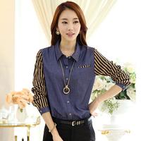 Denim Shirt Womens 2015 S-2X Plus Size Blusa Striped Chiffon Long Sleeve Patchwork Top Turn-Down Collar Cotton Blouse Blue Shirt