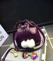 2015 new trend women's handbag winter wool ball drawstring bucket bags messenger bag