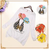 Fashion Casual Shirt 2015 Long Sleeve Cotton T Shirt Lovely Cartoon Cat Print Loose Women Tops Rhinestone Blusas Femininas