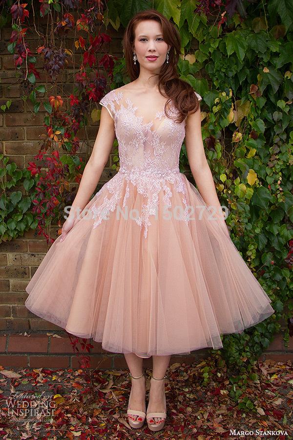 Pink Wedding Dresses Tea Length : Popular tea length pink wedding dresses buy cheap