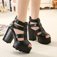 Hot sale!2015  Europe and America fish head High-heeled women sandal   sexy woman Roman waterproof shoes  size35-39