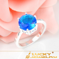 Free Shipping Beautiful Swiss Blue Topaz  Girlfriend Gifts RING ,top quality wedding rings, 100% hand made fashion jewelry