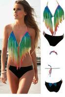 Gradient Rainbow Long Fringe Bikini LC41020