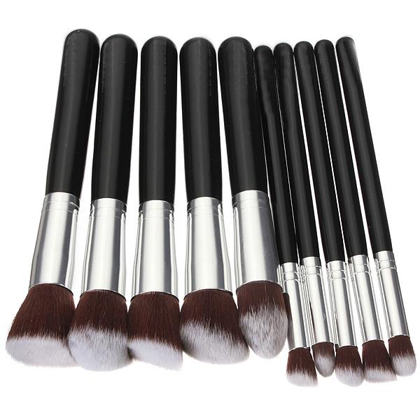 Wholesale 10Pcs Professional Black Soft Synthetic Hair Make up Tools Kit Cosmetic Beauty Black Makeup Brush Sets Free Shipping(China (Mainland))