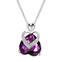 Beautiful Heart Pendant Necklace Purple Austria Crystal 18K White Gold Necklaces & Pendants Statement Necklace For Women FVN020