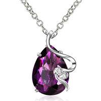 Purple Austria Crystal 18K White Gold Necklaces & Pendants Beautiful Design Pendant Necklace Statement Necklace For Women FVN021