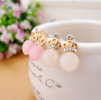 Delicate and lovely Fashion opals Stud earrings small crown Crystal Earrings Jewelry  Free shipping