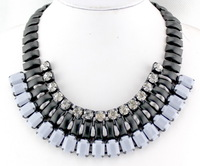 Hot New Women Bib Statement Collar Chain Resin Leaves Pendant Necklace!!Free PP