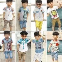 Fashion summer clothes kids cotton pants boys short pants baby cotton printed pants denim pants  fit 80-110cm kids