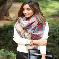 Fashion faux tassel plaid squareinto four sides cape women scarf