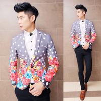 2015 Fashion Mens Flower Blazer Polka Dot Blazer Party Dress Club Trendy Outfits Slim Fancy Blazer Pattern. Free Shipping