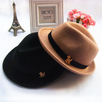 Spring Winter child fedoras small horse pure wool hat male female child hat 2-7 Years old