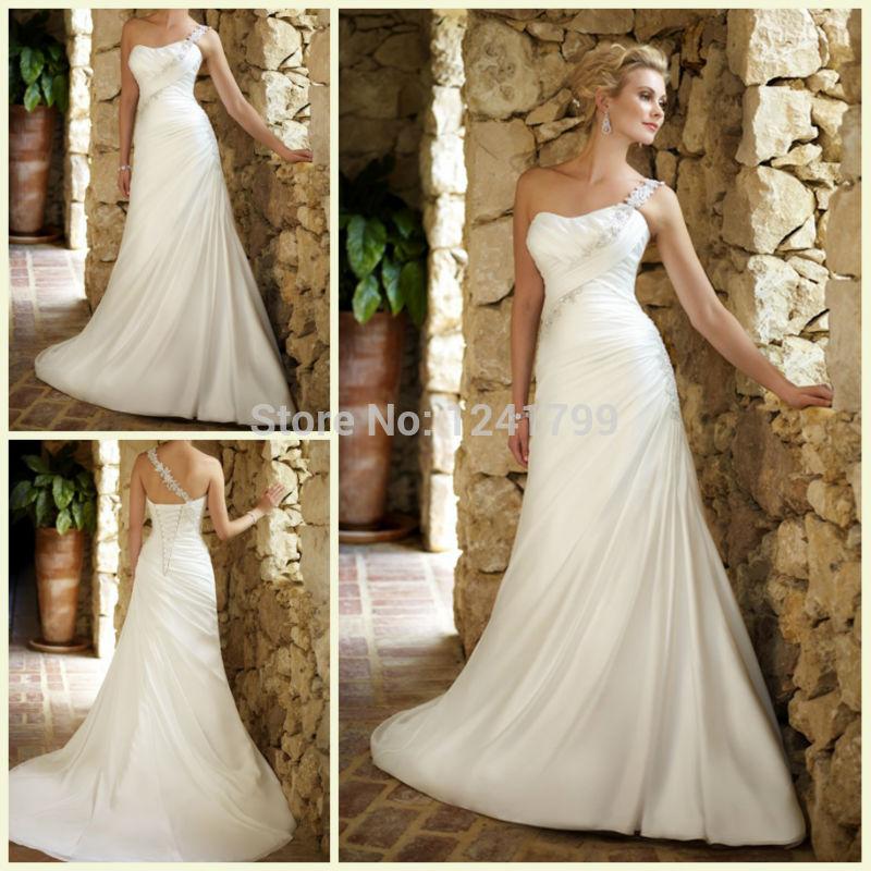 Elegant Beautiful One Shoulder Empire Long White 2015 Famous Designer Wedding Dresses Bridal Dress(China (Mainland))