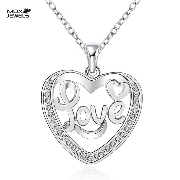 N757 fashion brand jewellery love monogram heart pendant bijuterias collares 925 silver women necklaces(China (Mainland))