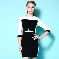 2015 Sale New Arrival Womens White & Black Tunic Business Casual Wear To Work Office Party Sheath Bodycon Pencil Dress LIREND011