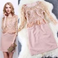 2015 New Arrival Spring Brand Women Pink Sheath Elegant Embroidery Mesh Summer Dress Bodycon Sexy Party Dresses  LIREN D20206