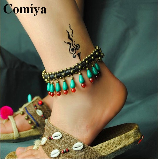 Twisted string turquoise bell rope Anklets traditional agate ethnic Anklet stone water drop Chinese wind fashion jewelry Comiya(China (Mainland))