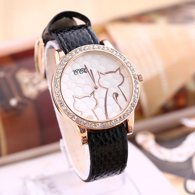 New Diamond Watch Cat Lovely Lady Female Hours PU Wristwatch Relogio Feminino Relojes Masculino Quartz Women Wrist Watches(China (Mainland))