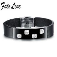 Casual Genuine Leather mix Metal  Bracelet Cubic Zirconia Stones Square Bracelet Adjustable Length Cool for Man 921
