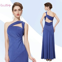 Prom Dresses Free Fast Shipping  2015 Elegant Oblique Shoulder See-through Back Maxi Long Bodycon Blue HE08319BL