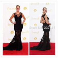 Nancy O'Dell 66th Emmy Awards 2014 Sexy Scoop Mermaid Black Lace vestido de festa Red Carpet Celebrity Special Occasion Dress