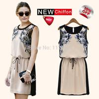 Hot Sale 2015 New Arrival Women Summer Dress Chiffon Ladies Dress Print Causal Vestidos Feminino Plus Size S-4XL Free Shipping