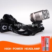 New Headlight warterproof metal cover 3000 Lumen CREE XM-L T6 *2  Care LED HeadLight HeadLamp+ 2*18650batery 3000mah +Charger