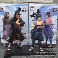 Free Shipping Anime Naruto Uchiha Sasuke + Uchiha itachi PVC Action Figures Collectible Model Toys 2pcs/set NTFG016