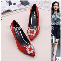 New  women's pointed toeMetal square opening comfortable low heels pumps dress shoes,designer velvet women's high heels shoes
