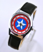 Marvel Captain America Super Hero Leather Band Metal Watch For Child Boy Free Shipping