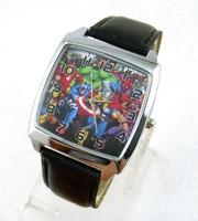 Marvel Super Hero Fashion Steel Watch Wrist Quartz Black Leather Band For Boy Man Free Shipping