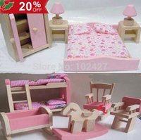 Fashion Wooden Dolls House Boy Girls Furniture Children Kid Room Bedroom Toys DIY Toy Girls Room Model Building Kits