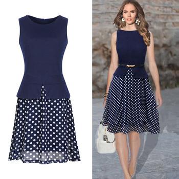 Летнее платье 2015 темно-синий горошек платья одежды женщины свободного покроя платье печать шифон Vestidos дамы элегантный женская одежда